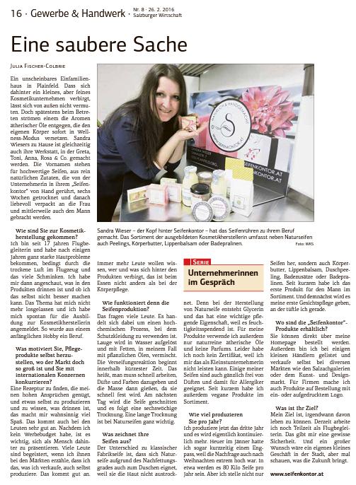 """""""Unternehmerinnen im Gespräch"""" WKO Zeitung 2016"""